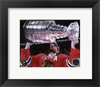 Framed Duncan Keith with the Stanley Cup Game 6 of the 2015 Stanley Cup Finals