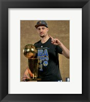 Framed Klay Thompson with the NBA Championship Trophy Game 6 of the 2015 NBA Finals