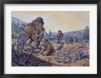 Framed Herd of Woolly Mammoth and Scimitar Sabertooth, Pleistocene Epoch