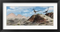 Framed Velociraptors Stalking a Herd of Protoceratops