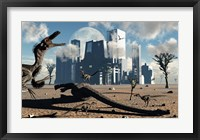 Velociraptors come across a Giant Sauropod carcass as their Next Meal Framed Print