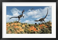 Velociraptors involved in a Territorial Dispute Framed Print