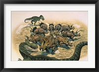 Framed Herd of Triceratops Defend their Territory