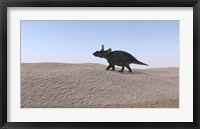 Framed Triceratops Walking across a Barren Landscape 3