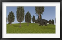 Triceratops Walking across a Grassy Field 1 Framed Print