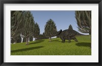 Triceratops Walking across a Grassy Field 2 Framed Print
