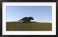Triceratops Walking across a Grassy Field 4 Framed Print