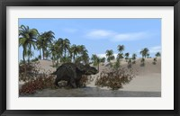 Triceratops Walking along the Shoreline 1 Framed Print