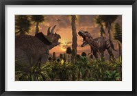 Framed T- Rex and Triceratops meet for a Battle 1