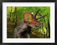 Framed Colorful Triceratops Wanders a Cretaceous Forest