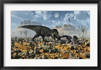 T-Rex feeding on a Triceratops Carcass Framed Print
