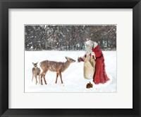 Framed Santa Greets The Deer