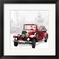 Framed Santa's Red Classic Car