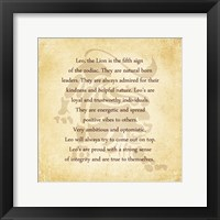 Leo Character Traits Framed Print
