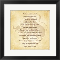 Framed Taurus Character Traits