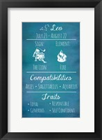 Framed Leo Zodiac Sign