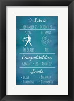 Framed Libra Zodiac Sign