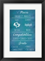 Framed Pisces Zodiac Sign