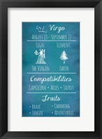 Framed Virgo Zodiac Sign