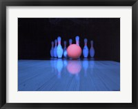Framed Bowling ball with bowling pins