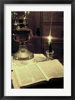 Framed Bible & Lamp