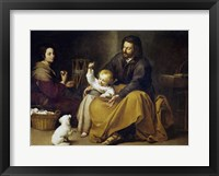 Framed Holy Family with a Small Bird