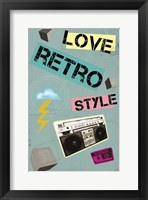 Love Retro Style Framed Print