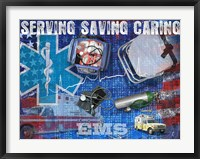 Serving Saving Caring Framed Print