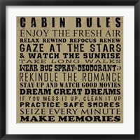 Cabin Rules Framed Print