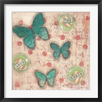 Joy Love Peace Butterflies Framed Print