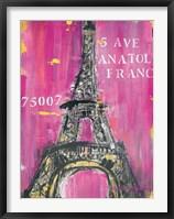 Framed Pink Eiffel