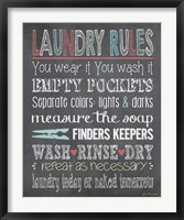 Laundry Rules Framed Print