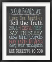 Faith Family Rules Framed Print