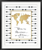 Framed Faux Gold Map