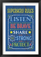 Superhero Rules Framed Print
