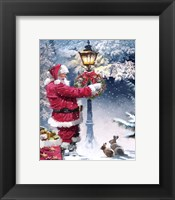 Framed Santa Lampost