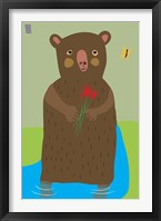 Framed Bear With Flowers