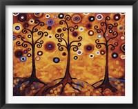 Framed Tree Whimsy Of Three Orange