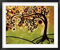 Framed Black And Cream Tree Swirl