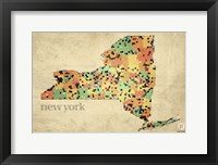 New York County Map Framed Print