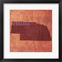 Framed Nebraska State Words
