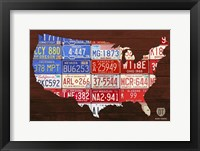 Framed USA Flag Map