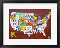 Framed License Plate Map USA I