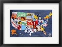 USA Map II Framed Print