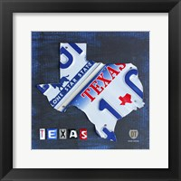Framed Texas License Plate Map