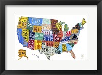 Framed License Plate Map USA II