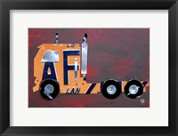 Semi Truck License Plate Art Framed Print