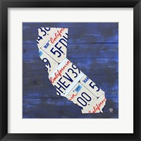 Framed California License Plate Map - Blue