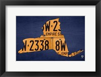 Framed New York License Plate Map