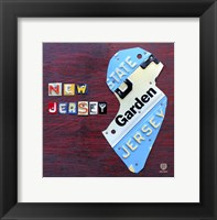 Framed New Jersey License Plate Map